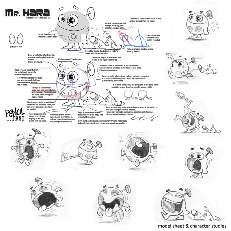 <i>'Mr. Hara' Model Sheets and Character Studies</i><br>Production: Pencil Test Studios<br>Art and Concepts: Pencil Test Studios